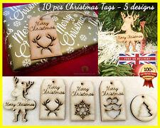 10 Etiquetas De Regalo De Navidad Etiqueta Decoración del árbol Mdf Corte Láser