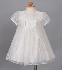 New Baby Girls Ivory Wedding Party Christening Dress with Cape 3-6 Months