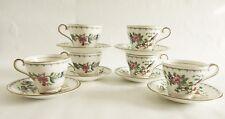 Set of 6 AYNSLEY Pembroke England Bone China Tea Cup & Saucer