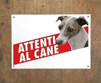 PICCOLO LEVRIERO ITALIANO 2 Attenti al cane Targa cartello metallo Beware dog