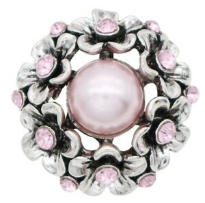 Silver Pink Pearl Rhinestone Flower 20mm Snap Button Charm For Ginger Snaps