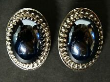 Signed Whiting & Davis Co. Silver tone Hematite Clip on Earrings