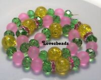42 Mixed Glass Beads Strand-Yellow-Lime-Pink-Faceted-Frosted-Crackle-DIY Jewelry