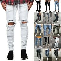 Mens Denim Ripped Jeans Skinny Pants Frayed Biker Destroyed Slim Fit Trousers US