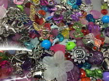 90g of mixed acrylic beads and charms for childrens crafts and jewellery making