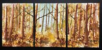 SET of 3 ACEO ATC original art paintings by Bill Lupton - Golden Forest
