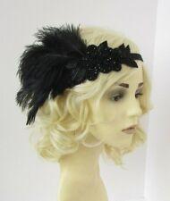 Black Beaded Ostrich Feather Headpiece 1920s Flapper Headband Great Gatsby 6959
