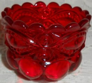 Royal Ruby Red glass eyewinker pattern salt cellar dip candle holder / tea light