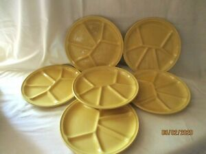 GIEN 6 ASSIETTES A FONDUE  céramique jaune a compartiments  fondue crudités tbe