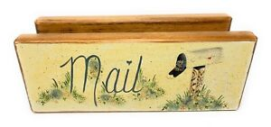 Vintage Hand Painted Letter Mail Holder Toll Painted Pine Wood