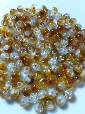 120 Pieces Of Amber/Brown Crackle Glass Beads Loose 6mm approx