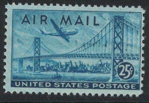 Scott C36- Plane over Oakland Bay Bridge- MNH 25c 1947- unused mint AIRMAIL