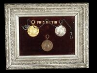 Framed French Shooting Medals Gold Silver and Bronze 19th Century