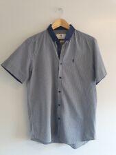 Marvelis Uomo Camicia A Maniche Corte Blu con motivo struttura MODERN FIT TG 40,41,42,43