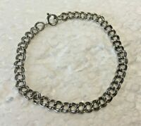 """Vtg Petite Solid Sterling Silver CHARM double Link CHAIN 7 in. """" BRACELET 925"""