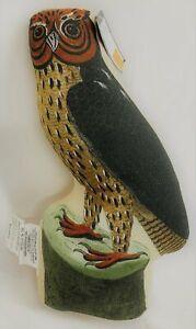 "JOHN DERIAN Decorative Pillow NWT ""Hocus"" Barn Owl Shaped Natural Multicolor"