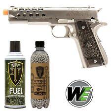 We Tech 1911 Airsoft Pistol Full Metal Hex Cut Gen 2 Silver Gas Blowback Gun