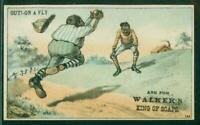 1880's Victorian Trade Card, H804-5, 3, Black Players, Out! -- On A Fly