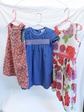 MINI BODEN 3 DRESSES FLORAL DENIM 4-5 YR, 5-6 YR, 5-6 YR PINK SUMMER COTTON