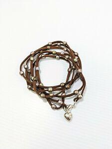 Artisan Brown Leather Multi Color Bead Long Wrap Bracelet Heart Charm 50 Inch