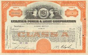 Utilities Power Light Corporation > 1931 Virginia stock certificate