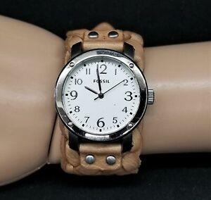 Fossil Tan Leather Braided Wrist Strap Watch - JR1292
