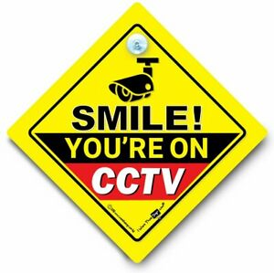 Smile You're On CCTV Car Sign, Camera Car Sign, Car Security Sign, Dash Cam Sign