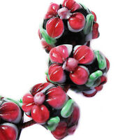Handmade Lampwork Glass Rondelle Beads Red Raised Petals 14mm 4 Beads (#a65red)