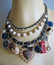 BETSEY JOHNSON ROYAL ENGAGEMENT HEART CROWN MULTI CHARM STATEMENT NECKLACE~RARE