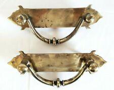 Huge antique pair heavy bronze door pulls very large imposing drop handles