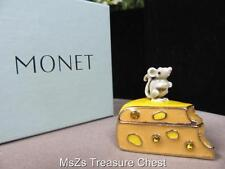 "MONET ""Mouse with Cheese Slice""  Enamel Keepsake Trinket Box  * New In Box *"