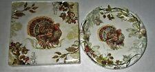 FALL Paper Plates & Napkins  ELEGANT TURKEY Luncheon Napkins & Cocktail Plates