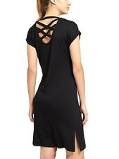ATHLETA Crossback Sweatshirt Dress- Black NWT $108 Sz XS