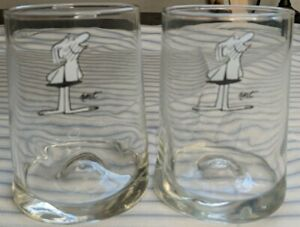 Vintage Collectible B C Cartoon Johnnie Hart Glasses Set of two 1970's Arby's