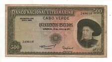 CAPE VERDE PORTUGAL 500 ESCUDOS 1971 PICK 53 LOOK SCANS