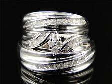 Mens and Ladies White Gold Finish Trio Genuine Diamond Engagement Wedding Ring