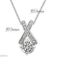 18K GF WHITE GOLD SIMULATED DIAMOND PENDANT WEDDING BRIDESMAID NECKLACE 2CT