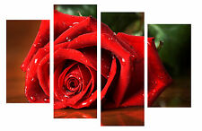 """LARGE RED ROSE CANVAS WALL ART PICTURE SPLIT 4 PANELS 40"""" X 28"""""""