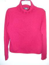 Griffen 100% Cashmere Dark Red Ribbed Accent Turtleneck Sweater - sz M