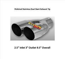"Dual Slant Polished Stainless Exhaust Tip 2.5"" Inlet 3"" Outlet 9.5"" Overall"