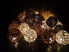 20 Mixed Brown Tones Rattan Ball string lights for Patio,Wedding,Party