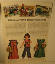 Vintage Betsy McCall Visits The Pennsylvania Dutch Paper Doll Page August 1973