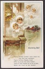 Church Bell Tower Christmas Angel Faces Wings Halo's Clouds Christmas postcard