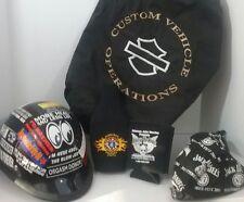 BIKER HELMET w/stickers Motorcyle bag, drink coozie Head Scarf Daytona 500