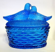 Westmoreland Glass Lovebirds on a Basket Curio Cobalt Blue 6 to 7 inches As Is