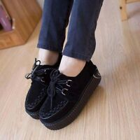 Ladies Women Creeper Vintage Goth High Floral Flat Shoes Stylish Casual Vogue