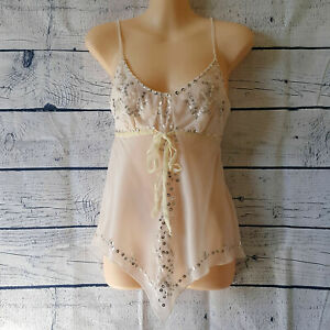 TOKITO Nude Beige Top Sequin Spaghetti Strap Low VNeck Stunning Sexy Womens Cami
