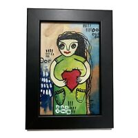 """PAINTING ORIGINAL ACRYLIC ON CANVAS PANEL (FRAME INCLUDED) 4""""X6"""" By LISA."""