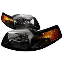 99-04 Ford Mustang Black Housing Headlights Amber SVT Convertable Saleen Cobra