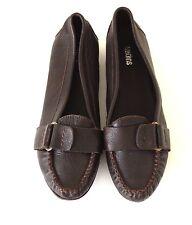 Women's Vintage WEDINS Slip On Flat Brown 100% Real Leather Shoes Pumps UK6 EU39